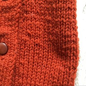 Vintage Sweaters - Vintage 70s rust knit cardigan with stripes